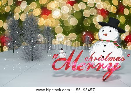 3D Rendering : 2016 Merry Christmas Light Bokeh Text And Snow Man Doll On Perspective Snowscape Spar