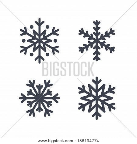 Snowflake icons set. Gray silhouette snowflakes signs isolated on white background. Flat design. Symbol of winter snow Christmas New Year holiday. Graphic element decoration Vector illustration