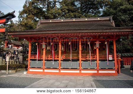 Golden Bell Hang On The Roof Of Haiden In Fushimi