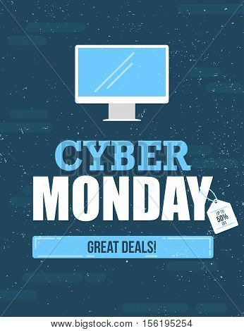 Cyber Monday sale vintage style flyer and poster