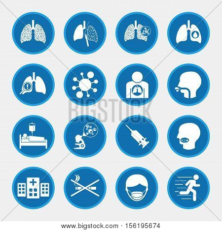Lungs cancer cause and prevention icons set
