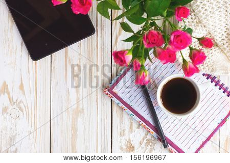 Warm Knitted Plaid,  Coffee, Notebook, Pensil And Tablet