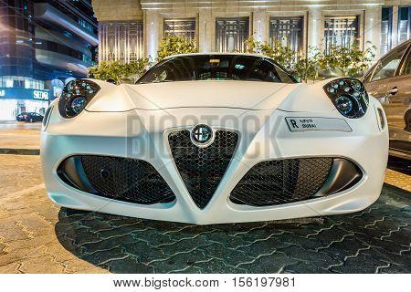 ABU DHABI - NOVEMBER 3 2016: Alfa Romeo 4C Coupe in Abu Dhabi