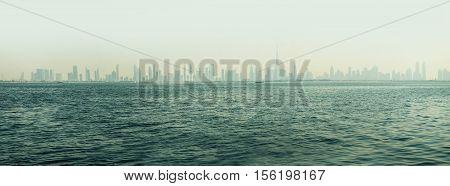 Skyline Dubai from boat, Dubai - the fastest growing city in the world