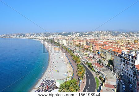 Nice France. View of the city and the Bay of Angels