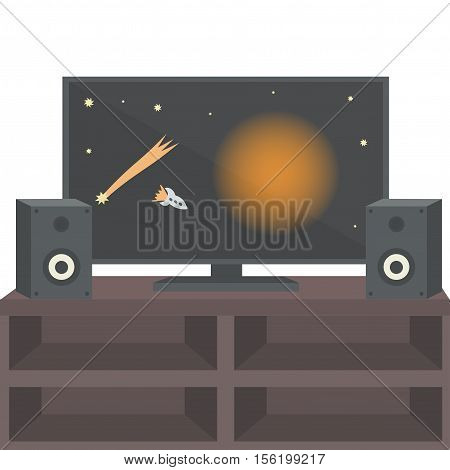 TV on the table with speakers. Vector illustration.