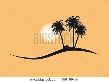 vacations and travel vector pictogram with palm trees and sun