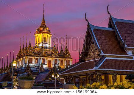 Wat Ratchanaddaram And Loha Prasat Metal Castle