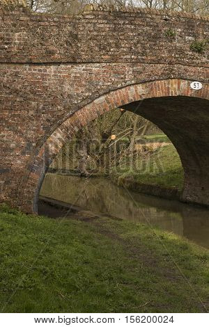 An image of a section of  Bridge 53 over the Grand Union Canal, Leicestershire, England, UK