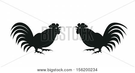 Black silhouettes fighting cocks on a white background. Symbol of Chinese horoscope and folklore personage. Vector illustration suitable as part of the ornament, design elements, etc. Horizontal.