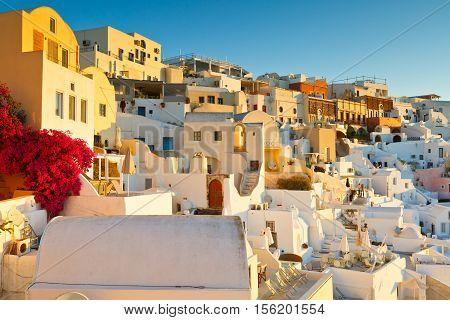 OIA, GREECE - NOVEMBER 05, 2016: View of Oia village on Santorini island in Greece on November 05, 2016.