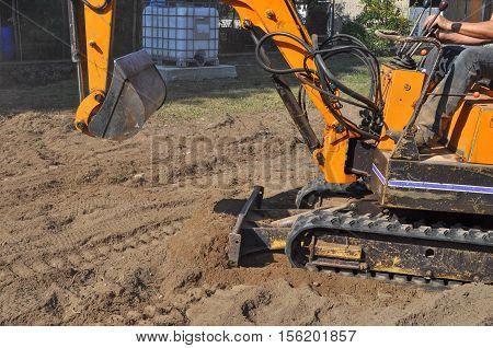 Excavator Machine In Construction Site