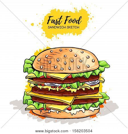 Hand Drawn Hamburger Or Sandwich. Fast Food Sketch