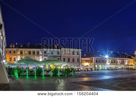 Tenement houses of the old Market Square in Zamosc Poland.