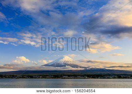 Mt.Fuji at sunset Kawaguchiko lake Fujiyoshida prefecture Japan