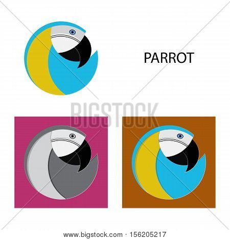 set of four parrot. Logo can be used for offset printing