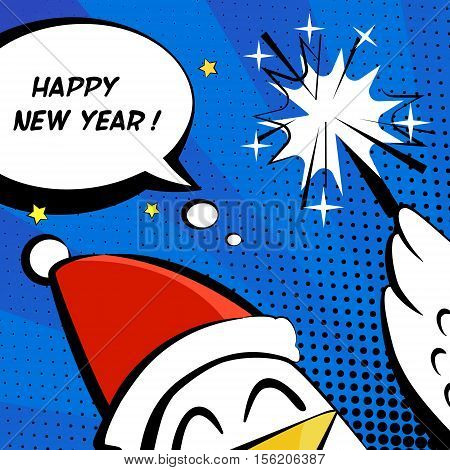Happy New Year vector illustration with cock in a Santa hat, sparkler and text cloud. Comics style.