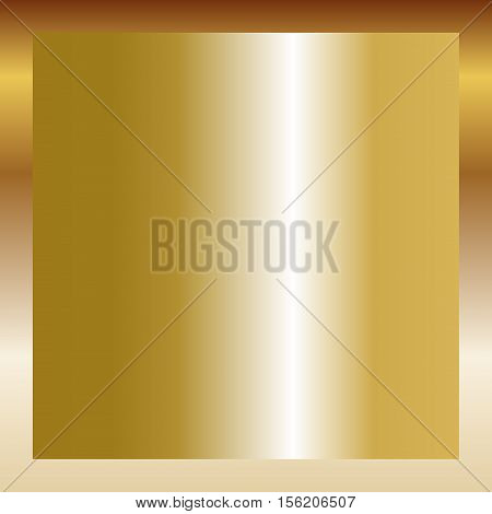 Gold texture vertical square pattern in frame. Light realistic shiny metallic golden gradient template. Abstract fashion metal decoration. Design for award sale background. Vector Illustration