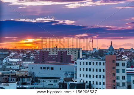 Sunrise Over A City At Kushiro, Hokkaido, Japan.