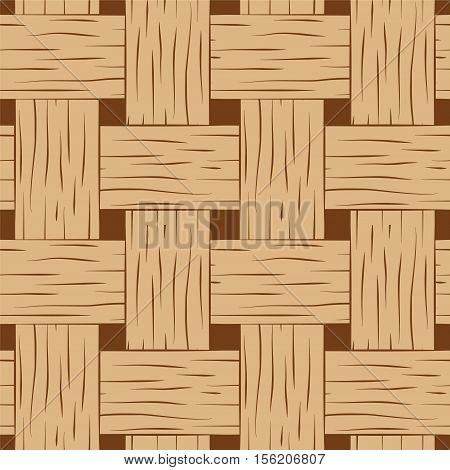 Braided seamless pattern. Wooden braided vector texture. Hand-drawn seamless pattern swatch of bark basket. Cartoon style braided pattern. Brown and beige woven texture square image for background