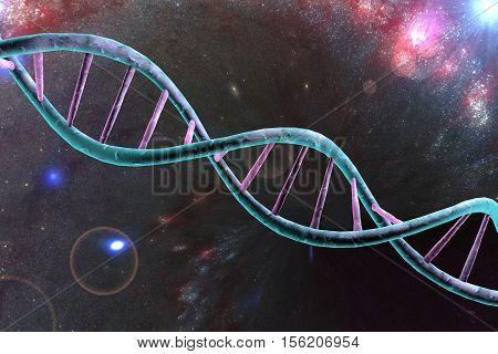Double helix of DNA on space background. 3D illustration. Elements of this image furnished by NASA