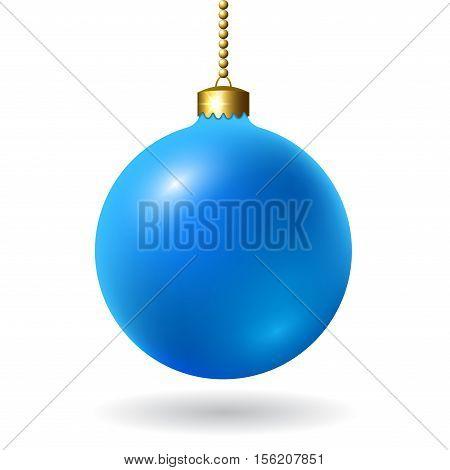 Merry Christmas 3D ball decoration. Blue glass bauble isolated on white background. Bright shiny decorative holiday design. symbol Xmas Happy New Year celebration. Vector illustration