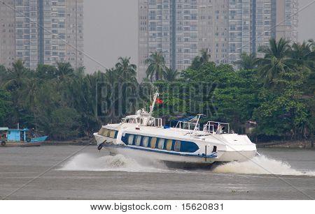Hydrofoil Boat On Saigon River In Vietnam