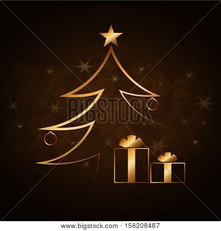 Merry Christmas celebration abstract background with gold Xmas tree. Decorative golden gift box balls star. Simple sketch card greeting. Shine light Happy New Year decoration. Vector illustration