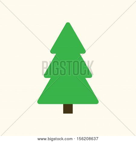 Christmas tree sign. Simple cartoon icon. Green template silhouette isolated on white background. Flat design. Symbol of holiday winter Christmas New Year celebration. Vector illustration