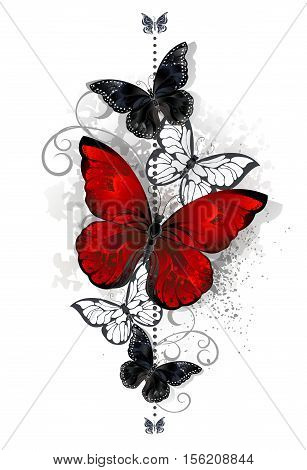 The composition of a bright red and black butterfly butterflies on a white background. Tattoo style. Morpho.
