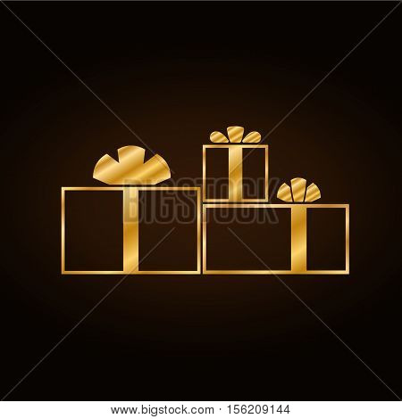Christmas gold gifts set with ribbon icon. Giftbox golden flat sign decoration isolated on black background. Symbol New Year celebration presents birthday Merry Xmas holiday Vector illustration