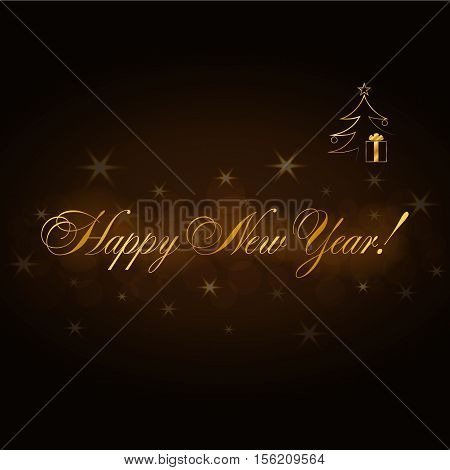 Happy New Year gold text. Holiday background. Design greeting card poster invitation. Golden decorative type. Symbol of Marry Christmas celebration holiday festive party. Vector illustration