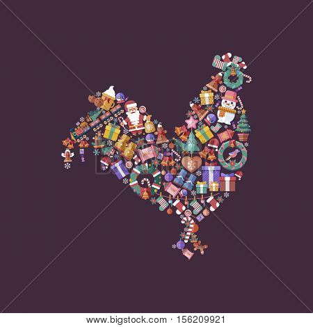 Stock vector illustration design elements for a Happy New Year and Merry Christmas in a flat style in the shape of symbol of the year 2017 Rooster set of decorative accessories on violet background.