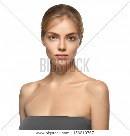 Beautiful Blond Woman With Perfect Skin. Isolated On White. Studio Shot.