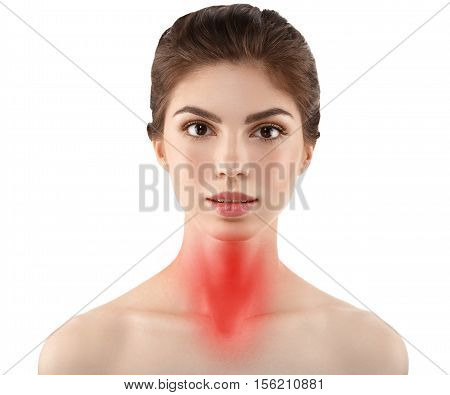 Pain throat concept. Young woman with throat pain. Isolated on white.