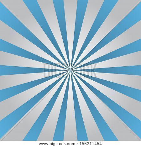 Blue gray rays poster. Popular ray star burst background television vintage. Dark-light abstract texture with sunburst flare beam. Retro sunbeam art design. Glow bright pattern. Vector Illustration