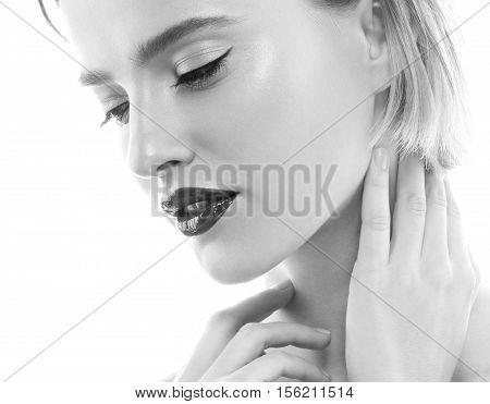 Woman Beauty Portrait. Black And White. Studio Shot.
