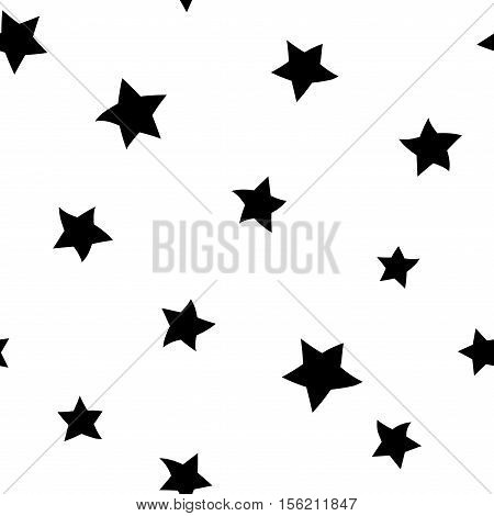 Star seamless pattern. Hand drawn retro background. Chaotic elements. Cartoon abstract shape texture. Effect of sky. Design template decoration wallpaper wrapping fabric textile Vector Illustration