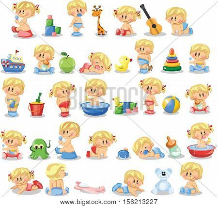 Vector illustration of baby boys and baby girls and accessories