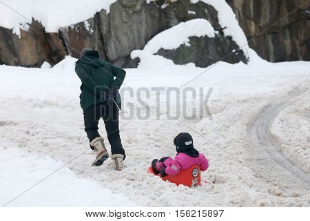 STOCKHOLM SWEDEN - NOV 10 2016: Father pulling a sledge with his child on the way to the kindergarten. November 10 2016 in Stockholm Sweden
