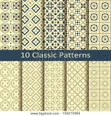 set of ten seamless vector gold geometric classic patterns