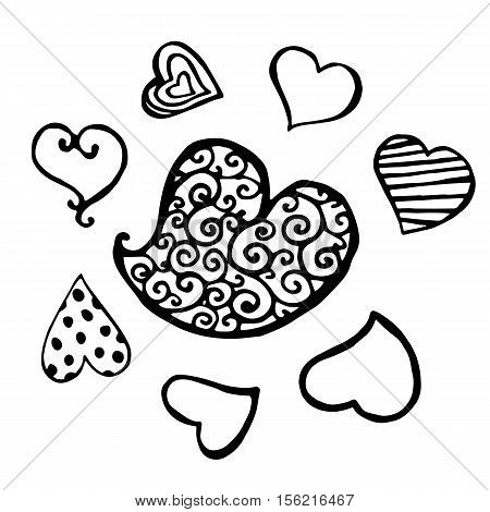 Set of black swirly striped dotted heart sketch isolated. Hand drawn illustration