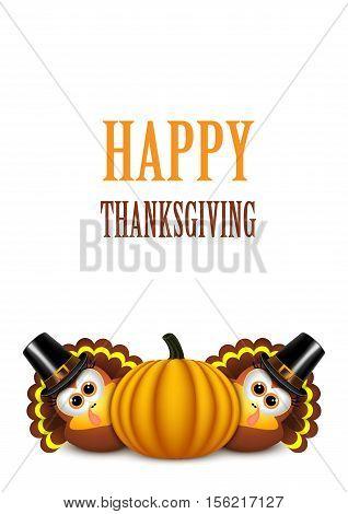 Cartoon turkey in a pilgrim hat. Card for Thanksgiving Day.