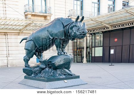 PARIS, FRANCE-circa april, 2016: Statue of Rhino in front of museum d'Orsay in Paris.