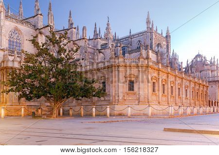 View of the Cathedral of Seville in the morning. One of the largest Gothic cathedral. Andalusia. Spain. Sevilla.