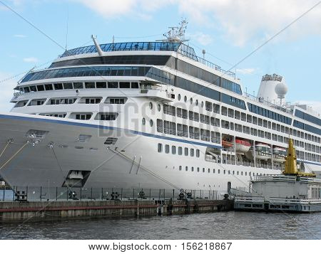 Large passenger ship docked. Passenger ship moored.  Cruise liner moored.