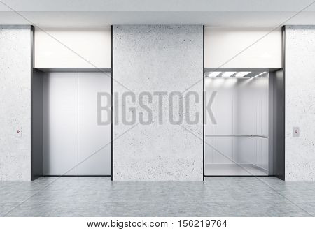Closed and open elevators with buttons in corridor with concrete walls. Concept of office center interior. 3d rendering. Mock up.