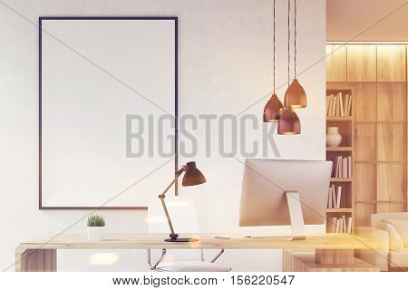 Close up of CEO office with bookcase sofa table and large vertical poster on concrete wall. Wooden decoration in the background. 3d rendering. Mock up. Toned image