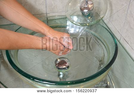 Washing Hands Under Water
