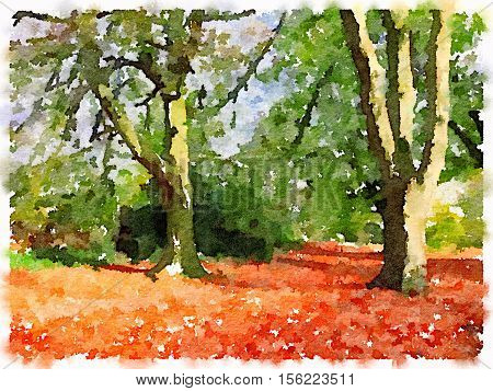 Digital watercolor painting of autumn leaves on the ground under trees that still have some green leaves on them. With space for text.